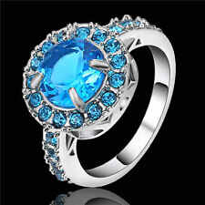 Trendy Size 8 Blue Sapphire white Rhodium Plated Womens Engagement Wedding Ring