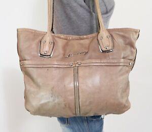 B.MAKOWSKY Large Taupe Leather Shoulder Hobo Tote Satchel Purse Bag