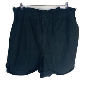New Lane Bryant Womans Black Linen Blend Shorts Sz 22 Paper Bag Waist Pockets