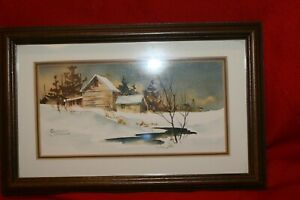 "Framed Print Winter Scene  Matted Snow Trees 7"" x 11"" signed BONNIE SABINE"