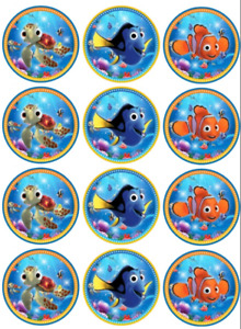 12 x LARGE Edible Cupcake Toppers - WAFER - Finding Nemo #1 - Birthday Party