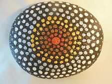 Rock Hand Painted Star Burst Design Garden Outdoor Decor Garden Art Paperweight!