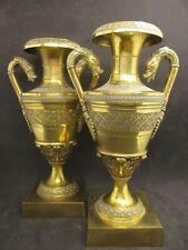 Bronze Feuervergoldet Empire Vasen Beisteller Uhr Biedermeier Kommode