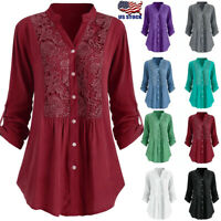 Women's Long Sleeve Shirt Tunic Blouse Button Front Lace V Neck Tops USA New