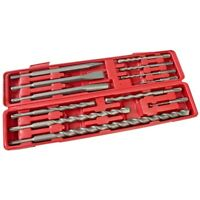 SDS Chisel & Drill Bit Set Am-Tech Professonal 12 Pc Set 5 - 20mm Blow Case New