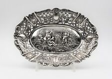Antique .800 Silver Repousse Tray Putti Candy dish