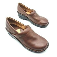 Born Womens Toby Clog Shoes Brown Cuban Heels Low Top Leather Slip Ons 8 M