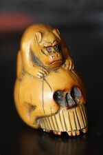 Original Antique Boxwood Japanese Carved Netsuke Skull Exceptional Detail