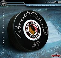 BOBBY HULL Signed Chicago Blackhawks Original Six Logo Puck