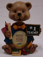 "#1 TEACHER BEAR BOBBLE HEAD ""PRETTY AS A PICTURE"" PICTURE FRAME"