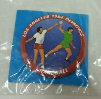 Los Angeles Olympic Handball Button Pin Vintage 1984 Pinback 80s Large Round