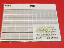Writing Paper for Kids -  High Contrast Paper w/ Gray Blocks  - 11X 8.5 in,