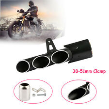 3-Outlet Motorcycle Exhaust Muffler Pipe Kit Left Mounting Clamp Slip on 38-51mm