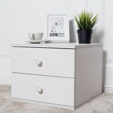 White Nightstand Bedside Cabinet End Table Bedroom Home Furniture with 2 Drawers