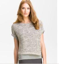NWT $238 Eileen Fisher Dk Pearl Cotton Wonder Stitch Ballet Neck Short Box Top L
