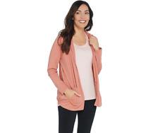 AnyBody Cozy Knit Hooded Cardigan Size M Dark Blush Color