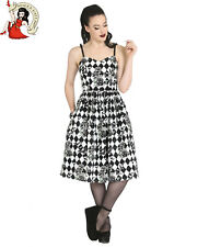 HELL BUNNY HAUNTLEY 50s DRESS style HARLEQUIN HALLOWEEN bats roses XS-4XL