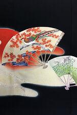 Vintage Japanese Silk Kimono Tomesode Fabric Triple Panel Patchwork #329