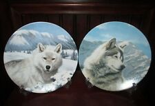 "Vintage Set of 2 ""Wild Spirits"" Wolf Collector Plates Thomas Hirata Ws George"
