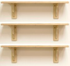 3 x Natural Wood Pine Shelf Kit 585mm Unfinished Storage Shelves Rounded Edge