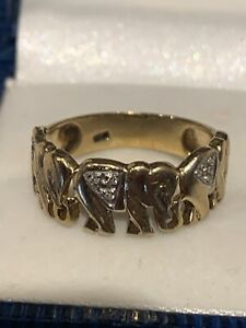 9Ct Yellow Gold Elephant And Diamond Ring