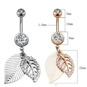 CZ Paved Dangle Leaf Surgical Steel Jewelley Belly Bar / Navel Ring Piercing