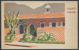 Malibu CA: COURT HOUSE - 1940s-50s Art Serigraph Postcard MA Sheehan of Topanga