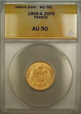 1866-A France 20 Fr Francs Gold Coin ANACS AU-50