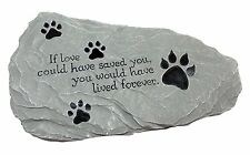 Dog Cat Pet Memorial Stone Rock Paw Print Grave Marker Decor Yard Garden New