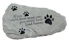 Dog Cat Pet Memorial Stone Rock Paw Print Grave Marker Decor Yard Garden New