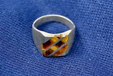 Handsome Ring: Sterling Silver w Tiger's Eye Inlay; Made in Mexico; Size 8