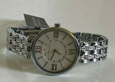 NEW! ANNE KLEIN SWAROVSKI CRYSTALS ACCENT SILVER-TONE BRACELET WATCH $95 SALE