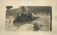 C-1910 Camping outdoor life men hunting rifles RPPC Tent real photo postcard 272