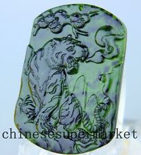 Natural chinese black green Jadeite jade tiger pendant necklace hand-carved