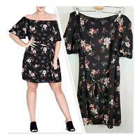 [ CITY CHIC ] Womens Floral Print Off the Shoulder Dress  | Size XS or AU 14