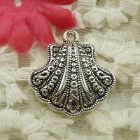 Free Ship 80 pieces tibetan silver round flower charms 29x25mm L-4831