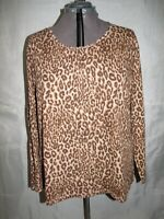 JMS Just My Size Top Blouse Shirt Women's Plus Sz 4X Animal Print Long Sleeve