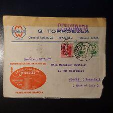 ESPAGNE LETTRE CENSURE MILITAIRE CENSOR COVER CAD MADRID 1936 POUR CLOYES