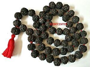 Rare Non Dye Original Black Rudraksha Mala 55 Beads 15 mm Size Necklace