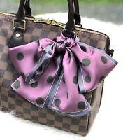 Purple Polka Dot Twill Scarf Hair Scarf Handbag Scarf Purse handle Wrap