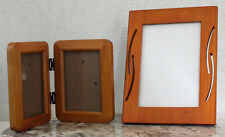 Picture Frames 5x7 4x6 Solid Natural Wood Wall Hang/Table Top Lot of 2