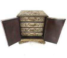 ANTIQUE JAPANESE MEIJI SMALL CABINET WITH DRAWS ATIMONY METAL FLOWERS DRAGONS