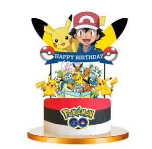 POKEMON Cupcake Birthday Cake Topper Party Supplies Decoration UK