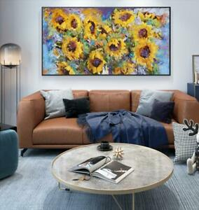 """LL045# Home decor Large 48"""" Hand-painted oil painting Sunflower Unframed"""