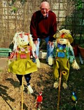 Set Of 4 Garden .Scarecrow Garden Decoration 2ft Approx Decorative Rustic