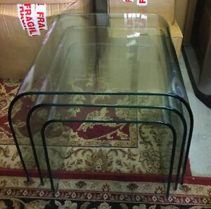 Fiam Italia Waterfall Glass Nest Side Tables - Used