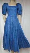 Laura Ashley Kleid 38 blau gold Blumen Hochzeit Abendkleid vintage Ball Theater