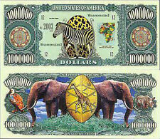 Two Wild Safari African Animals Novelty Money Bills # 162