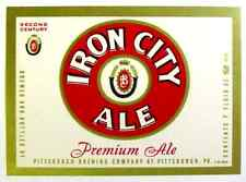 Pittsburgh Brewing IRON CITY ALE beer label PA 7oz