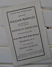William McKinley Memorial Exercises New York State Armory Watertown Program 1901